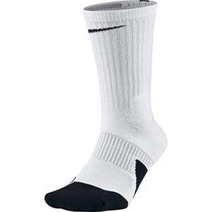 NIKE Unisex Dry Elite 1.5 Crew Basketball Socks (1 Pair)  White/Black/Black  X Large